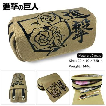 Cool Attack on Titan  Trainee Squad Scouting Legion Boys Girls Wallet Canvas Pencil Case School Supplies Bags Student Gift Make up Bag AT_90_11
