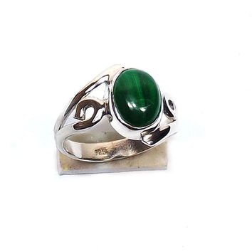 Sterling Silver Ring -Melachite Ring - Green stone Ring - Silver Ring - Sterling Silver Jewelry - Gemstone Jewelry - Handmade Silver Ring