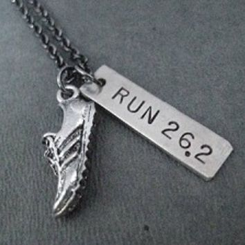 RUN DISTANCE with Running Shoe Charm - 5K, 10K, HALF MARATHON, MARATHON - Choose 5K, 10K, 13.1, 26.2 - Nickel pendants on Gunmetal chain
