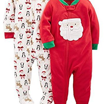 Simple Joys by Carter's Baby 2-Pack Holiday Footed Pajamas