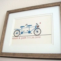 Bicycle Built For Two Wedding Print by onereverie on Etsy