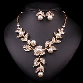 Wedding Party Jewellery Accessories Gold Color Bridal Necklace Earrings Imitation Pearl Jewelry Set Brides Women Decoration