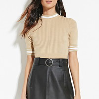 Stripe-Trimmed Ribbed Top