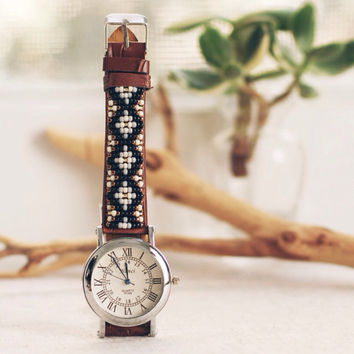 "BW-24, Free U.S shipping,Native American inspired hand-beaded watch.bro""wn,leather,handmade,hippie,boho,hipster"