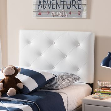 Baxton Studio Baltimore Modern and Contemporary White Faux Leather Upholstered Twin Size Headboard  Set of 1