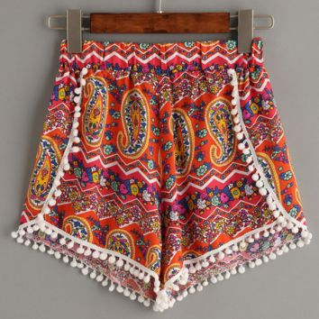 Retro Red Geometry  Floral Print Bohemian Shorts