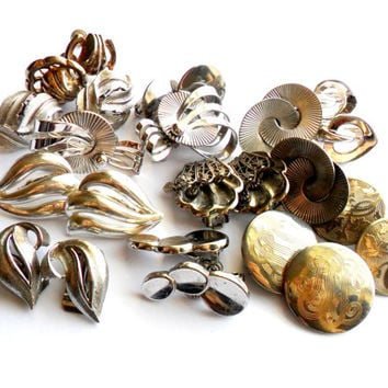 Silver Tone Clip Earring Lot Vintage Instant Collection Signed Marked Coro Trifari Alice Monet Sarah Coventry 12 Pairs Screw Back