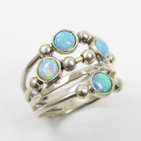 Summer Sale  Opal ring. sterling silver ring birthday by MayaOr