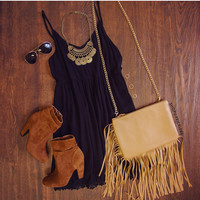 Dream Chaser Fringe Purse - Taupe