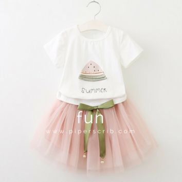 2PCS/ Summer-inspired Chic Shirt+ Silhouette Tutu Dress Outfit for Toddler Girls