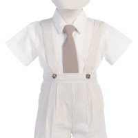 Khaki Tan Cotton Seersucker Suspender Shorts 4 Piece Easter Spring Outfit (Baby or Toddler Boys)