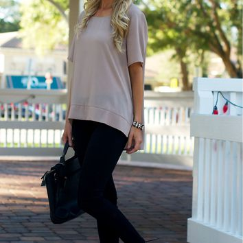 Taupe Zipper Blouse