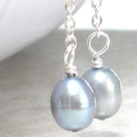 Long Silver Blue Pearl Earrings Sterling Silver Peacock by CCARIA