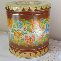 vintage tin with lid metal storage container boho chic butterfly flowers