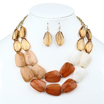 Chunky Champagne Brown Statement Necklace and Earrings Set
