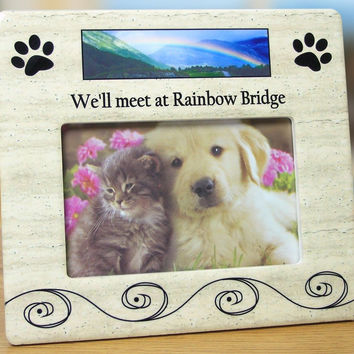 Pet Bereavement Photo Frame for Dog or Cat - We'll meet at Rainbow Bridge - f...