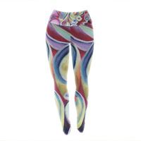 "Cathy Rodgers ""Groovy"" Rainbow Flowers Yoga Leggings"