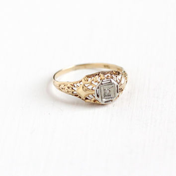 Antique 10k Yellow & White Gold Art Deco Diamond Ring - Size 5 1/2 Vintage Filigree 1920s 1930s Wedding Engagement Fine Two Tone Jewelry