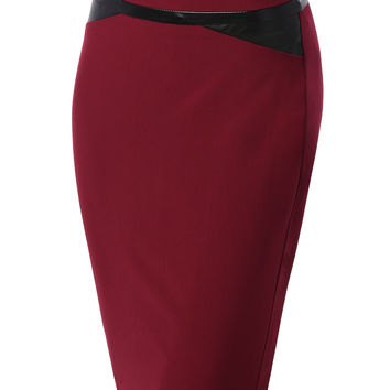 Womens Fitted High Waisted Pencil Skirt With Faux Leather Details