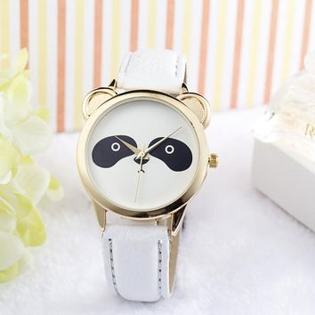 Fashion Neutral Diamond Lovely Panda Face  Leather Quartz Watch