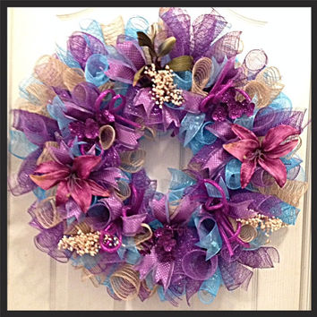 Mothers Day and Everyday Purple, Turquoise and Burlap Deco Mesh Wreath