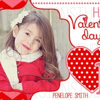 Heart Chevron Polka Dot Personalized Valentines Day Card - Printable