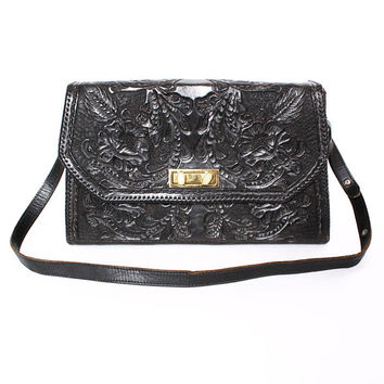 Vintage 60s Unused Tooled Leather Purse / 1960s Oversized Black Floral Patterned Shoulder Bag