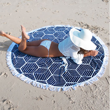 Bohemian Indian Mandala Tapestry and Aztec Pattern Printed Circular Round Beach Towel Blanket Mat