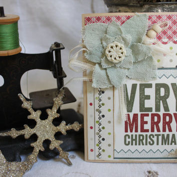 "Christmas Card,Handmade,Mixed Media,Holiday Greeting,4.25x5.5"",Original,Vintage Lace,Vintage Buttons,Vintage Ribbon,Pearl Dot Accents,Xmas"