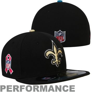 New Era New Orleans Saints Breast Cancer Awareness On-Field 59FIFTY Fitted Performance Hat - Black