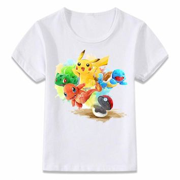 Kids Clothes T Shirt  Starters Squirtle Charmander Bulbasaur and Pikachu Children T-shirt Boys and Girls Toddler TeeKawaii Pokemon go  AT_89_9