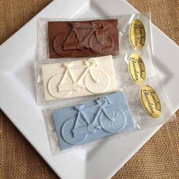 12 Chocolate Bicycle Bars Bike Birthday Party Favors Cyclist Transportation Sweets Candy