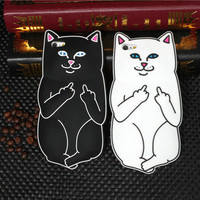 Middle Finger Flipping Off Cat Silicone iPhone Case