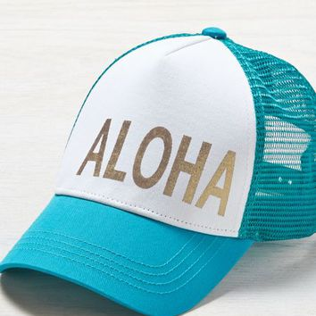 AEO Women's Aloha Trucker Hat (Teal)