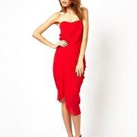 ASOS Drape Bandeau Midi Dress - Red