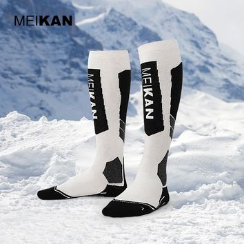 MEIKAN Men Sport Socks Knee High Wool Ski Thermal Socks Long Stockings Outdoor Snowboard Socks High Quality Non-slip Meia