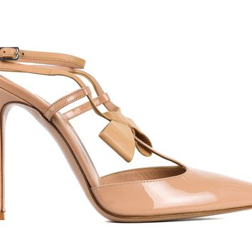 Gianvito Rossi Nude Patent Leather Cross Bow Pumps