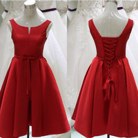 Simple Red Back Up Lace Homecoming Dress