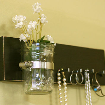 Jewelry Key Holder Espresso Jewelry Earring Holder Rack Organizer Wall Vase Mason Jar Earrings Necklace Key Holder Necklace Holder