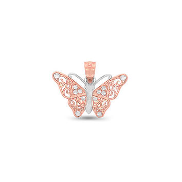 14k solid gold two tone butterfly pendant. butterfly jewelry