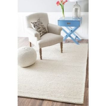 nuLOOM Handmade Braided Cable White New Zealand Wool Rug (6' x 9')