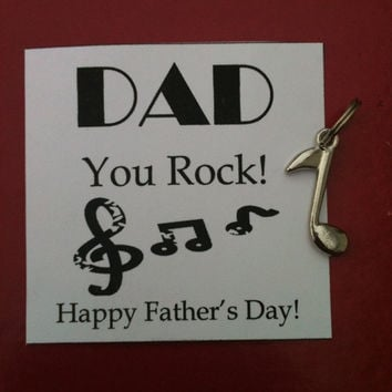 "Father's Day ""Dad You Rock"" Music Symbol Key Chain Charm and Card"