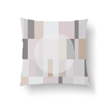 Pastel Pillow, White Circle,Throw Pillow, Textured Rectangles, Decorative Pillow, Cushion Cover, Pink Gray, Geometric Textures, Home Decor