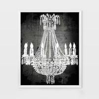Classy Chandelier Art Prints - French Chic Art Decor -  Black and White Modern Home Decor Art Prints - Living Room Decor