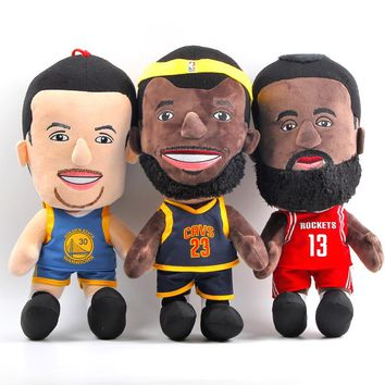 25cm NBA Basketball Player Super Stars Plush Doll Toys LeBron James Stephen Curry James Harden Plush Stuffed Figure Toys Gifts