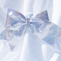 Cheer bow-  White with sliver holographic fabric and rhinestone center- cheerleader bow- dance bow- cheerleading bow- softball bow