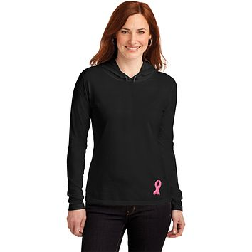 Buy Cool Shirts Ladies Breast Cancer Tee Embroidered Ribbon Bottom Hooded Shirt