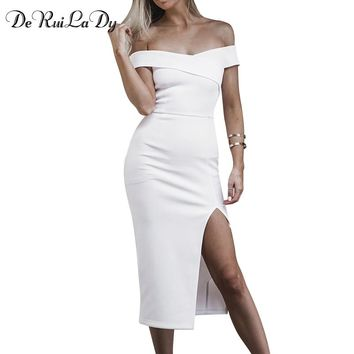 DeRuiLaDy Women Sexy Maxi Dress Summer Casual Fashion Dresses Clothing Sexy Beach Party Club Black White Long Dress vestidos