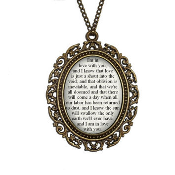 The Fault in Our Stars Necklace, John Green Jewelry: 'I know love is just a shout into the void, and I am in love with you' Quote Pendant