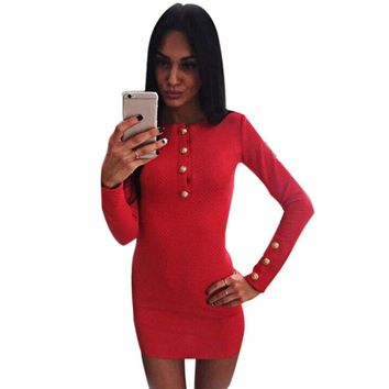 Simple Jewel Collar Long Sleeve Button Design Solid Color Mini Dress for Ladies